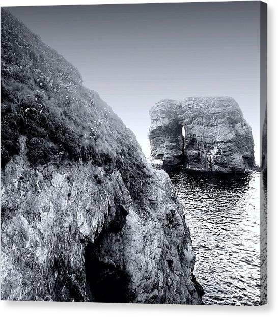 Beach Cliffs Canvas Print - Porth Island, Cornwall, Uk #coast by Anita Callister Jones