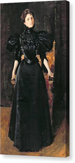 Black Widow Canvas Print - Portrait Of A Lady In Black by William Merritt Chase