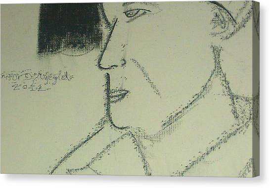 Portrait Of A Shopkeeper Bust Canvas Print by Samson Agegnehu