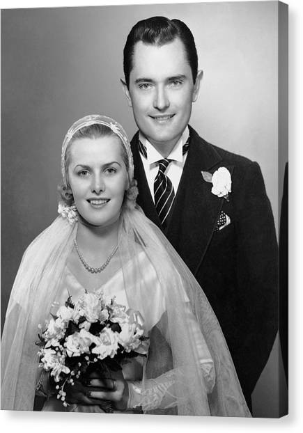Portrait Of Bride & Groom Canvas Print by George Marks