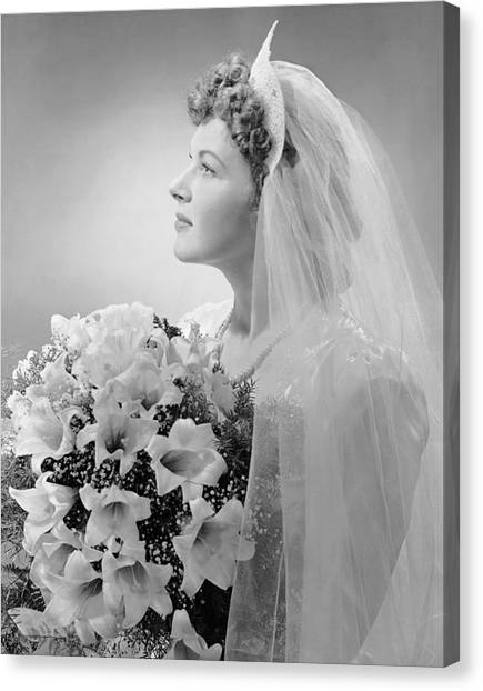 Portrait Of Bride Canvas Print by George Marks