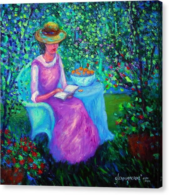 Portrait Of Ellsabeth In Her Garden Canvas Print