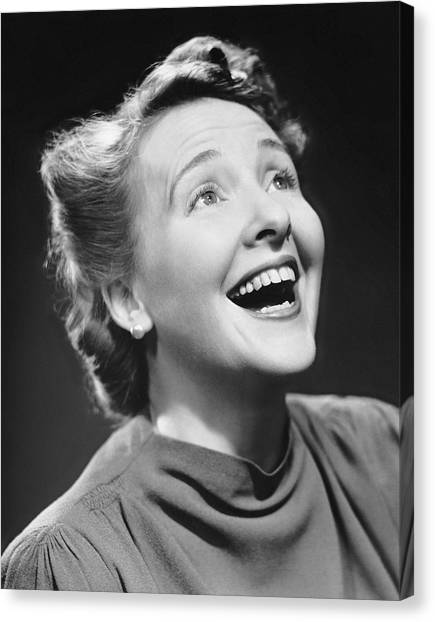 Portrait Of Happy Woman Canvas Print by George Marks