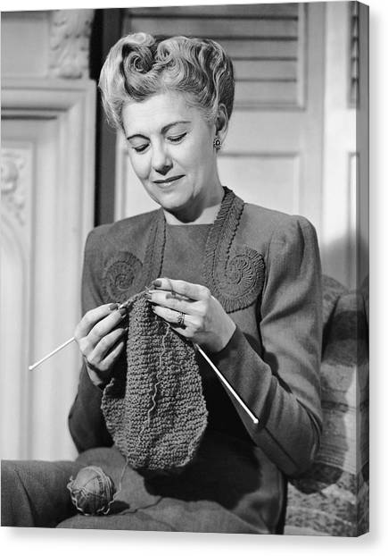 Portrait Of Mature Woman Crocheting Canvas Print by George Marks
