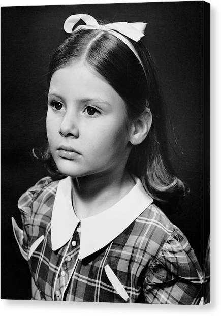 Portrait Of Sad Young Girl Canvas Print by George Marks