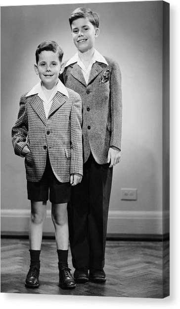 Portrait Of Two Boys Indoor Canvas Print by George Marks