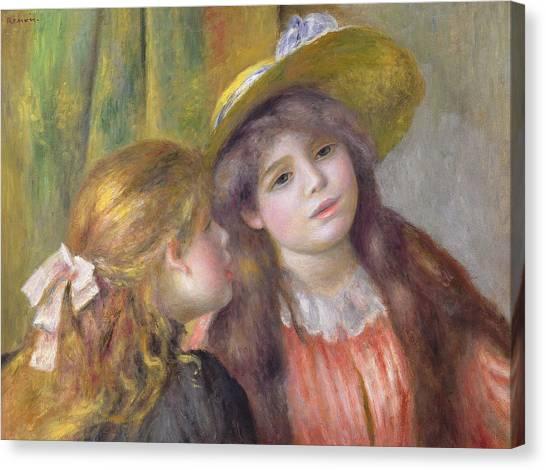 Pierre-auguste Renoir Canvas Print - Portrait Of Two Girls by Pierre Auguste Renoir