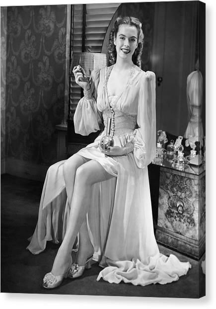 Portrait Of Woman At Vanity Table Canvas Print by George Marks