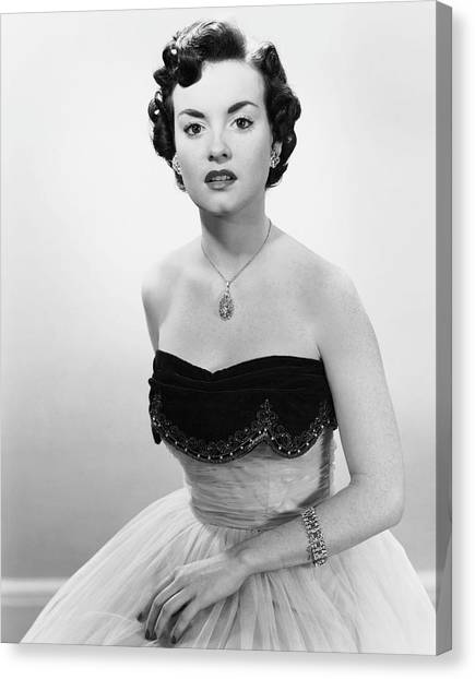 Portrait Of Woman In Evening Wear & Jewelry Canvas Print by George Marks