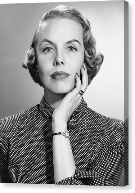 Portrait Of Woman With Wrist Watch & Ring Canvas Print by George Marks
