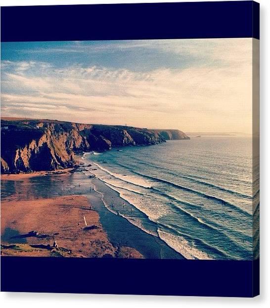 Beach Cliffs Canvas Print - #postcardpicture #porthtowan by Sophie  Jones