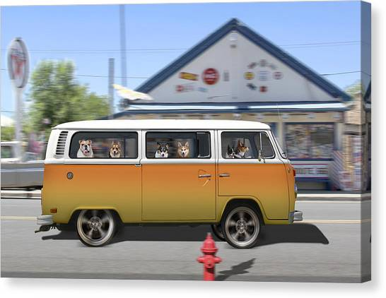 Boston Terriers Canvas Print - Postcards From Otis - Road Trip  by Mike McGlothlen