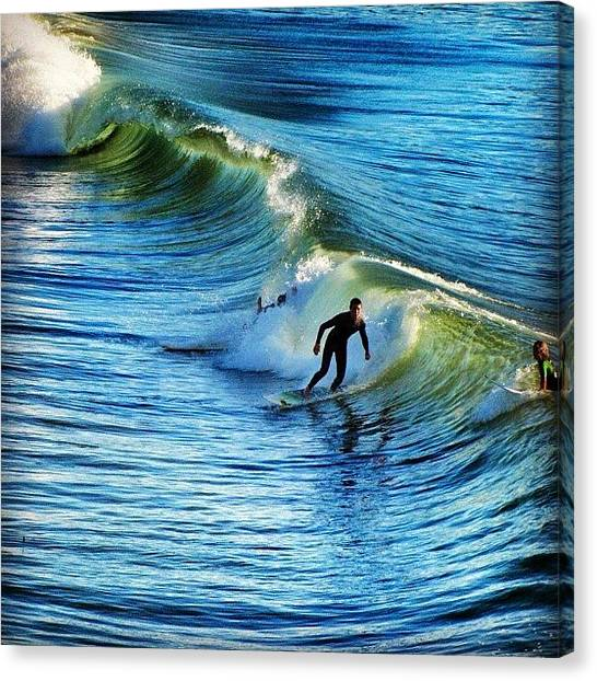 Surfing Canvas Print - Posting This One From #hermosabeach by Loren Southard
