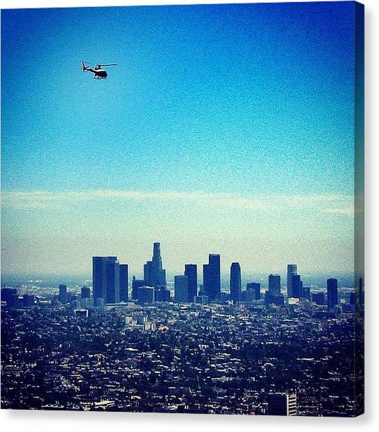 Helicopters Canvas Print - Posting This One Of Downtown #la From A by Loren Southard