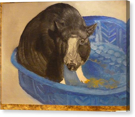 Pigatopia Canvas Print - Potbellied Pig Pet Portrait Original Oil On Canvas U Provide The Picture Or Idea Made To Order 5 X 7 by Shannon Ivins