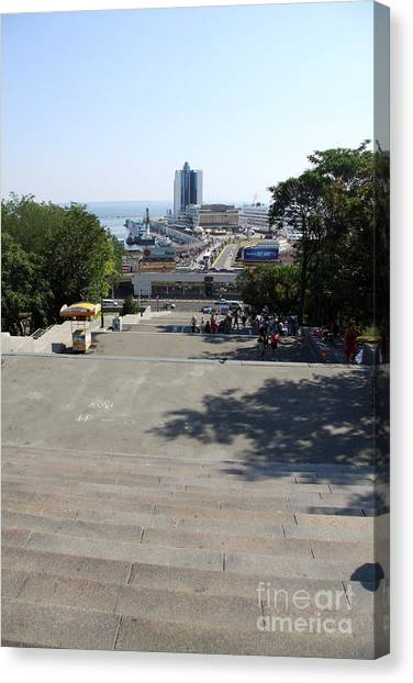 Canvas Print - Potemkin Stairs And Passenger Terminal - Odessa by Christiane Schulze Art And Photography