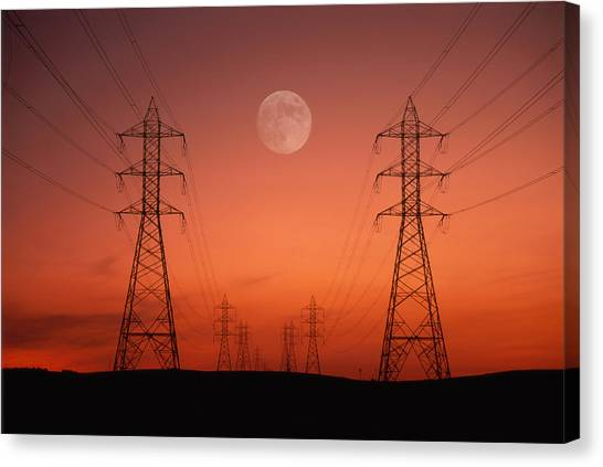 Pixelated Canvas Print - Power Lines At Sunset by Photopix