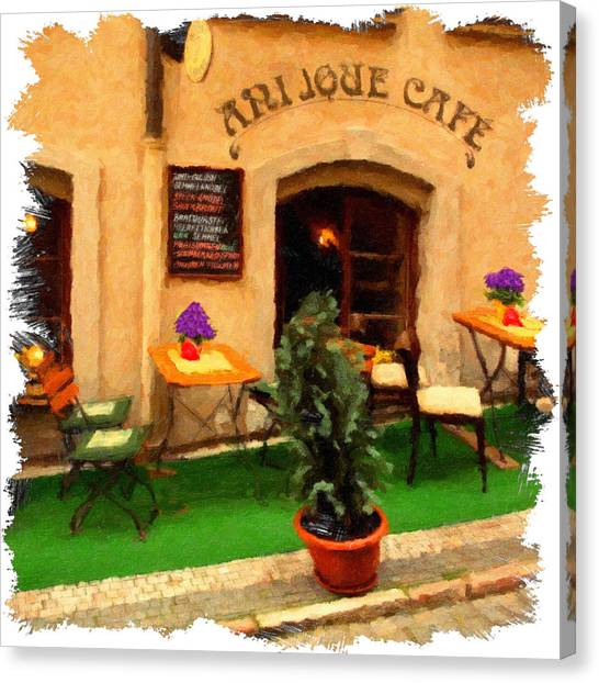 Prague Canvas Print - prague Cafe by Martin Fry