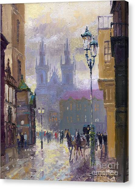 Oil On Canvas Print - Prague Old Town Square  by Yuriy Shevchuk