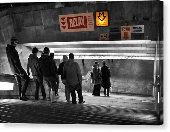 Long Wharf Canvas Print - Prague Underground Station Stairs by Stelios Kleanthous