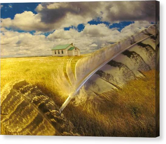Prairie Feathers Canvas Print by Lori  Secouler-Beaudry
