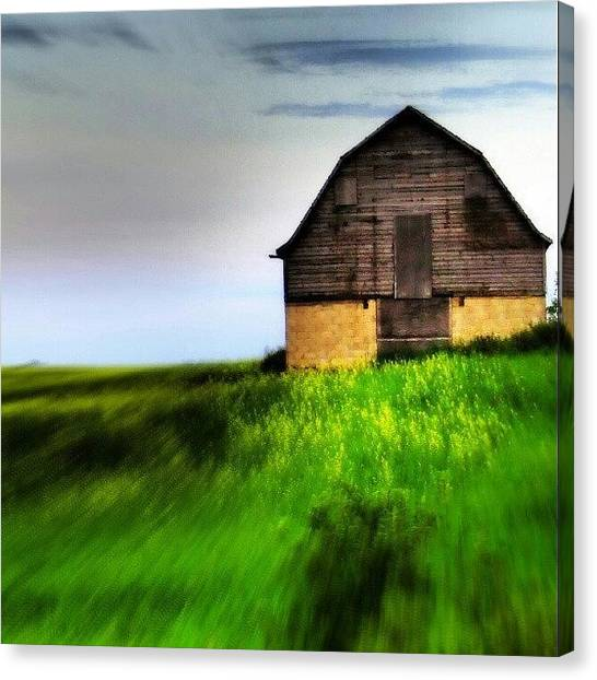 Barns Canvas Print - #prairie #landscape #barn #rural by Michael Squier