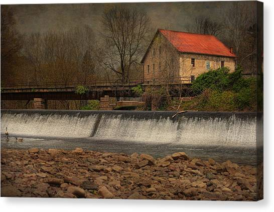 Prallsville Grist Mill And The Spillway Canvas Print