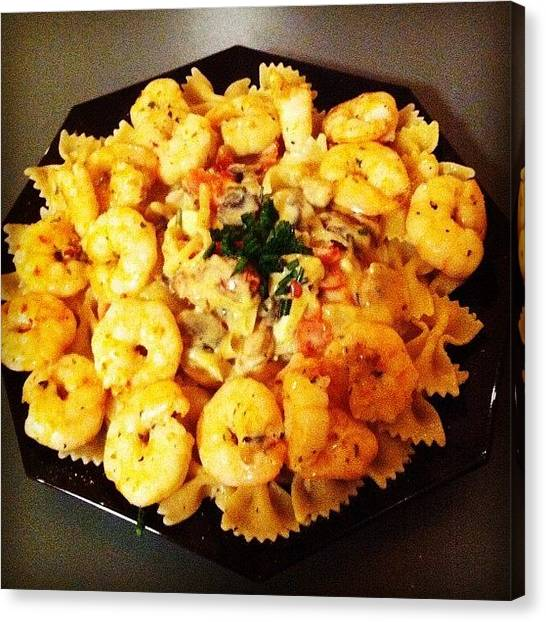 Seafood Canvas Print - Prawns In Pasta For Mr O #pasta #prawns by Avril O
