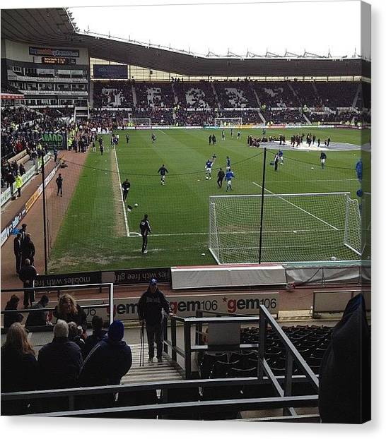 Stadiums Canvas Print - Pre Match Warm Up by Cathy Truelove