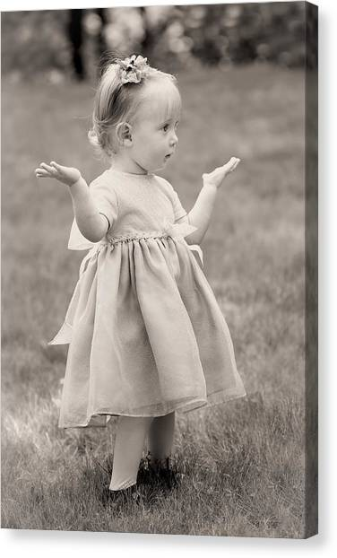 Precious Vintage Girl In Dress Canvas Print