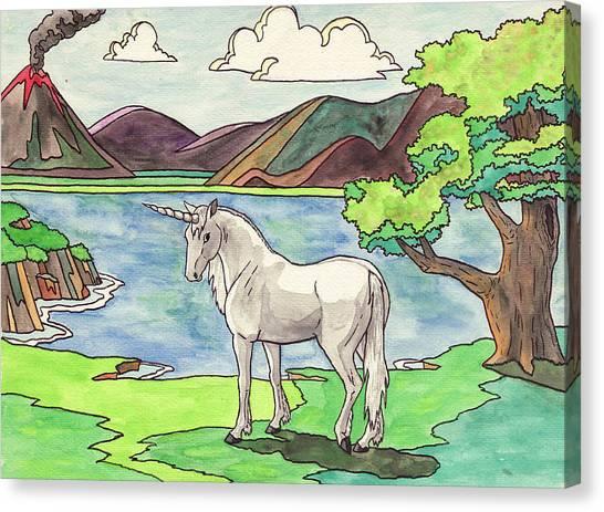 Unicorn Canvas Print - Prehistoric Unicorn by Crista Forest