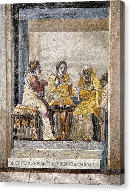 Preparing A Love Potion, Roman Mosaic Canvas Print by Sheila Terry