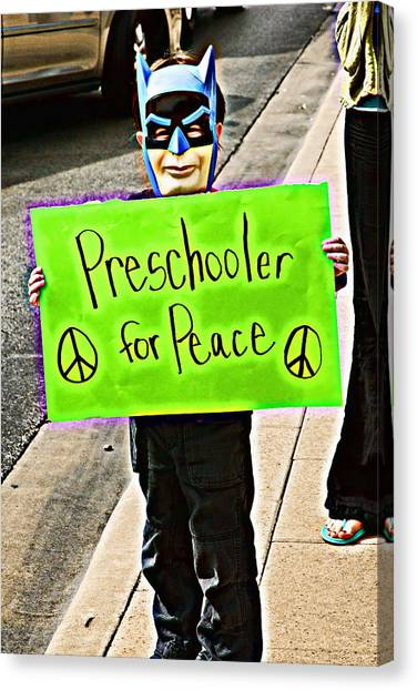Preschooler For Peace Canvas Print by David Thompson