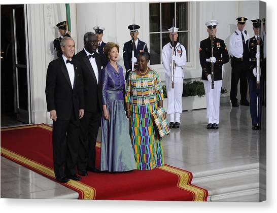 George W. Bush Canvas Print - President And Laura Bush Welcome Ghanas by Everett