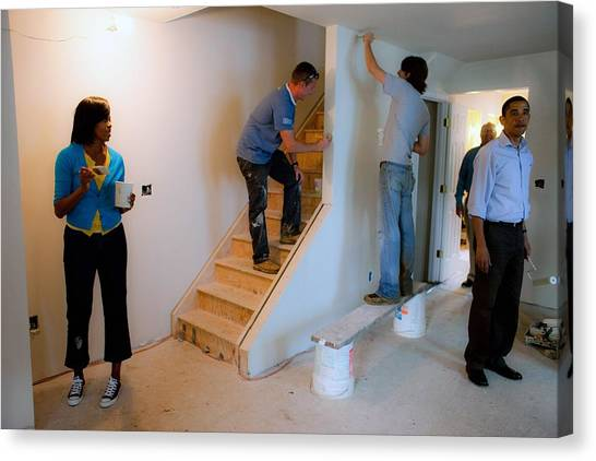 President And Michelle Obama Help Paint Canvas Print by Everett