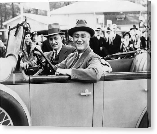 Franklin D. Roosevelt Canvas Print - President Franklin D. Roosevelt Driving by Everett