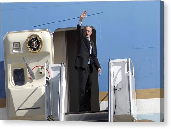 George Bush Canvas Print - President George Bush Waves Good-bye by Stocktrek Images