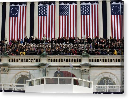 George Bush Canvas Print - President George W. Bush Makes by Stocktrek Images