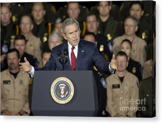 George Bush Canvas Print - President George W. Bush Speaks by Stocktrek Images