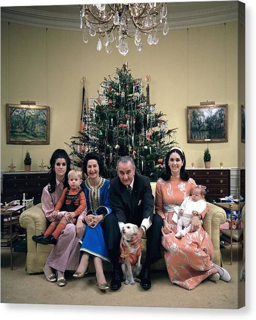 Lyndon Johnson Canvas Print - President Johnsons Family Celebrating by Everett