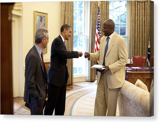 Reggie White Canvas Print - President Obama Gives A Fist-bump by Everett