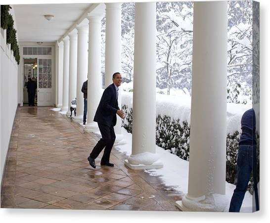 Bswh052011 Canvas Print - President Obama In A Snowball Fight by Everett