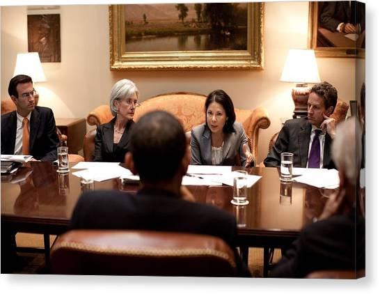 Health Insurance Canvas Print - President Obama Listens To Nancy-ann by Everett