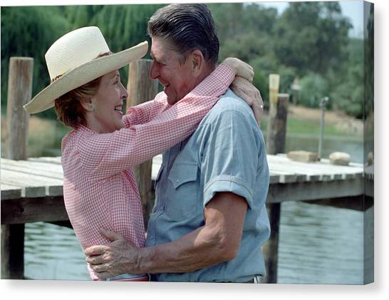 First Lady Canvas Print - President Ronald And Nancy Reagan In An by Everett