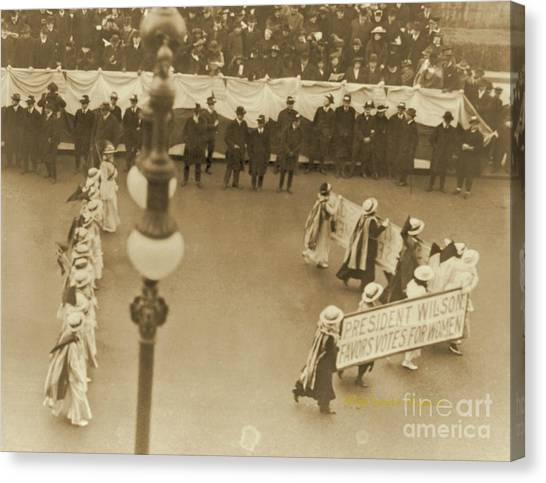 Womens Rights Canvas Print - President Wilson Favors Votes For Women by Padre Art