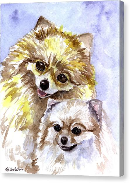 Pomeranians Canvas Print - Pretty Pom Pair - Pomeranian by Lyn Cook