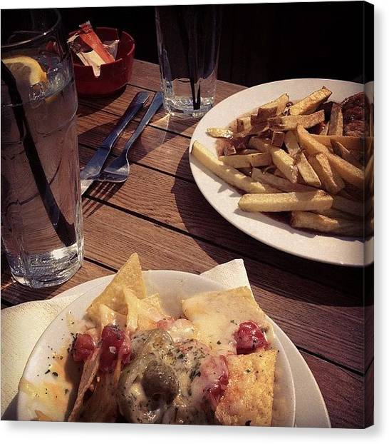 Steak Canvas Print - #pub #lunch #food #instafood #nachos by Grace Shine
