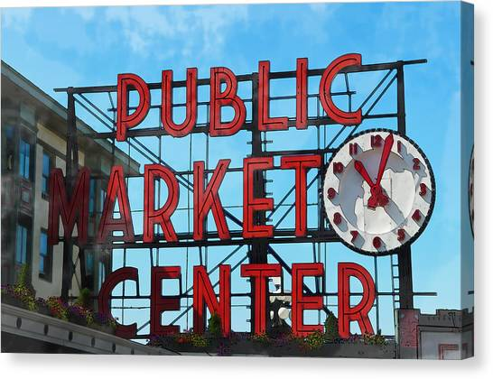 Public Market Center In Seattle Washington Canvas Print