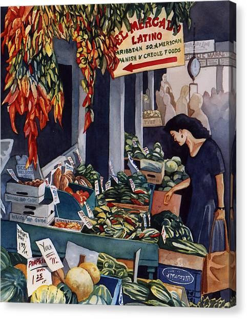 Public Market With Chilies Canvas Print