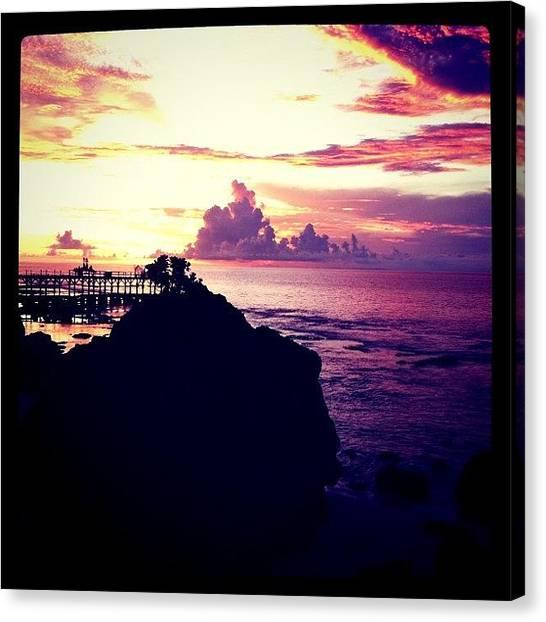 Beach Cliffs Canvas Print - Puesta Del Sol #2 by Bonnie Mulholland